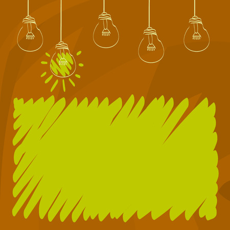 Set of Transparent Bulbs Hanging with Filament and One is in Lighted Icon Business Empty template for Layout for invitation greeting card promotion poster voucher