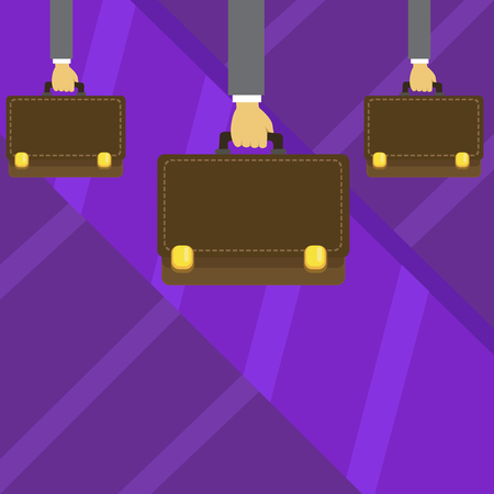 Three Men Hands Carrying Brown Briefcase with Running Stitch Style and Lock Design business concept. Business ad for website and promotion banners. empty social media ad