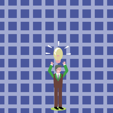 Businessman Standing Raising Arms Upward with Lighted Bulb Icon on his Head Design business concept Empty copy space modern abstract background