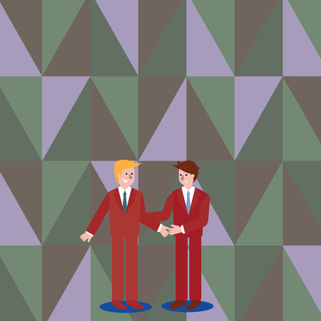 Deux hommes d'affaires debout, souriant et se saluant en se serrant la main Concept d'entreprise de conception Texte de copie vide pour le modèle de maquette de matériel promotionnel de bannières Web
