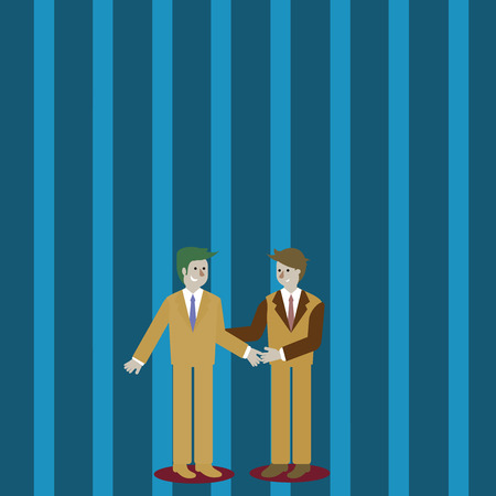 Two Businessmen Standing, Smiling and Greeting each other by Handshaking Design business concept Empty template copy space text for Ad website isolated