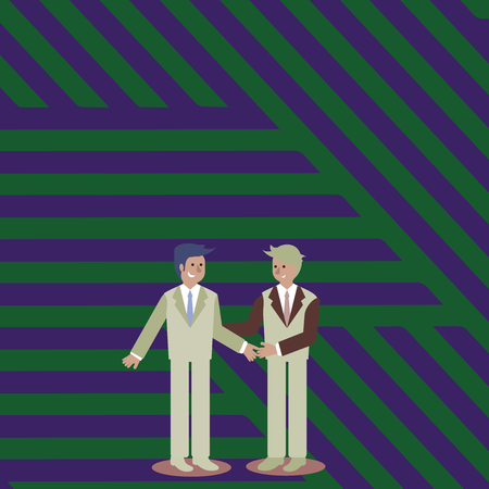 Two Businessmen Standing, Smiling and Greeting each other by Handshaking Design business Empty template isolated Minimalist graphic layout template for advertising