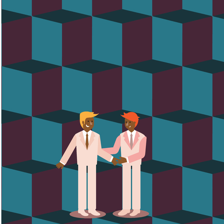 Two Businessmen Standing, Smiling and Greeting each other by Handshaking Design business concept Empty copy space modern abstract background Illustration