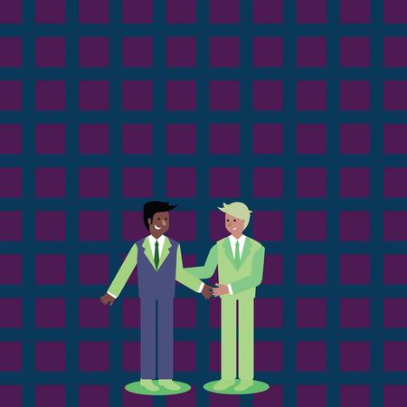 Deux hommes d'affaires debout, souriant et se saluant en se serrant la main Design business Texte de l'espace de copie vide pour la promotion du site Web publicitaire Modèle de bannière isolé