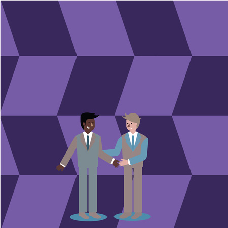 Two Businessmen Standing, Smiling and Greeting each other by Handshaking Business Empty template for Layout for invitation greeting card promotion poster voucher