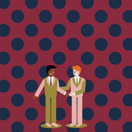 Deux hommes d'affaires debout, souriant et se saluant en se serrant la main Concept d'entreprise de conception Texte de copie vide pour le modèle de maquette de matériel promotionnel de bannières Web Vecteurs