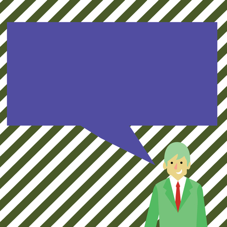 Businessman Smiling and Talking with Blank Rectangular Color Speech Bubble Copy Space design Empty template text for Ad, promotion, poster, flyer, web banner, article Çizim