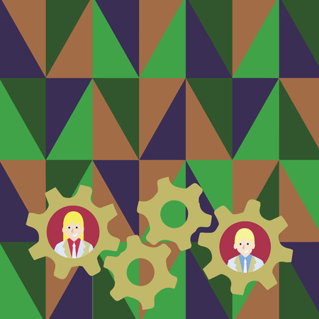 Two Business People Each Inside Colorful Cog Wheel Gears for Teamwork Event Business concept Empty template copy space isolated Posters coupons promotional material Illustration