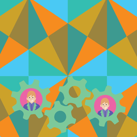 Two Business People Each Inside Colorful Cog Wheel Gears for Teamwork Event Design business concept Empty copy space modern abstract background Illustration