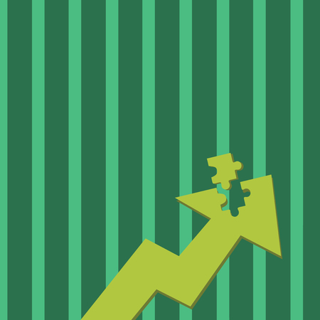 Colorful Arrow Pointing Upward with Detached Part Like Jigsaw Puzzle Piece Business Empty template for Layout for invitation greeting card promotion poster voucher Illustration