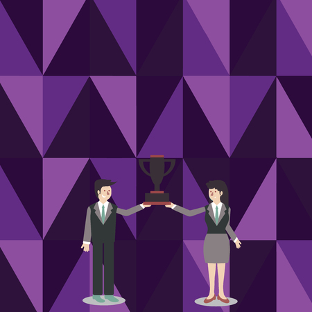 Man and Woman in Business Suit Holding Together the Championship Trophy Cup Copy Space design Empty template text for Ad, promotion, poster, flyer, web banner, article