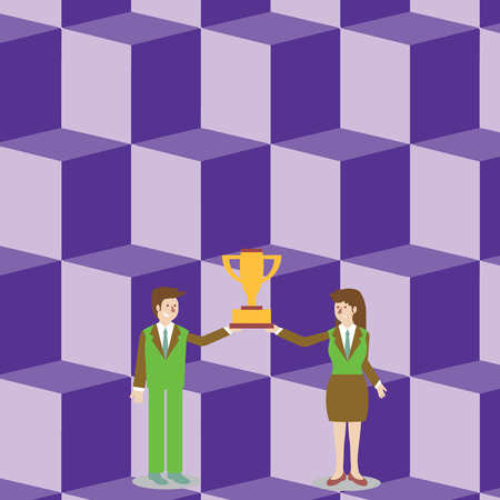 Man and Woman in Business Suit Holding Together the Championship Trophy Cup Business Empty template for Layout for invitation greeting card promotion poster voucher
