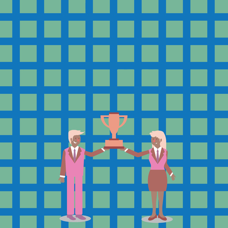 Man and Woman in Business Suit Holding Together the Championship Trophy Cup Design business concept Empty copy space modern abstract background