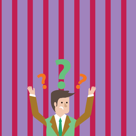 Confused Businessman Raising Both Arms with Question Marks Above his Head Design business concept Empty copy space modern abstract background