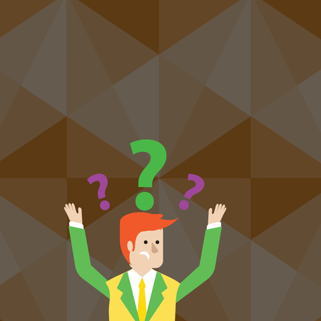 Confused Businessman Raising Both Arms with Question Marks Above his Head Design business Empty copy space text for Ad website promotion isolated Banner template