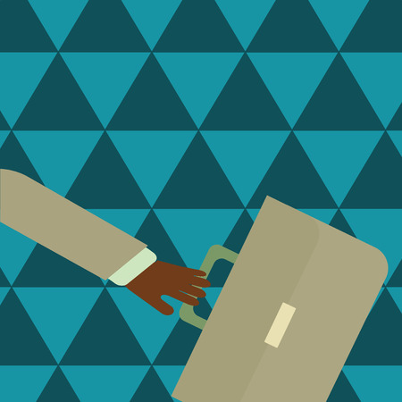 Rushing Businessman Arm Swayed Farther Back and Hand Holding Color Briefcase Design business concept Empty copy space modern abstract background