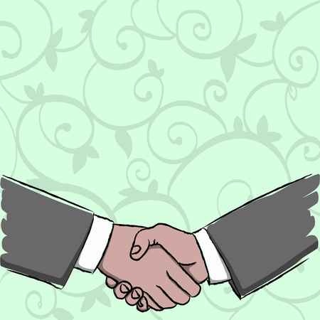 Businessmen Shaking Hands Firmly as Gesture Form of Greeting and Agreement Design business Empty template isolated Minimalist graphic layout template for advertising Stock Vector - 119321425