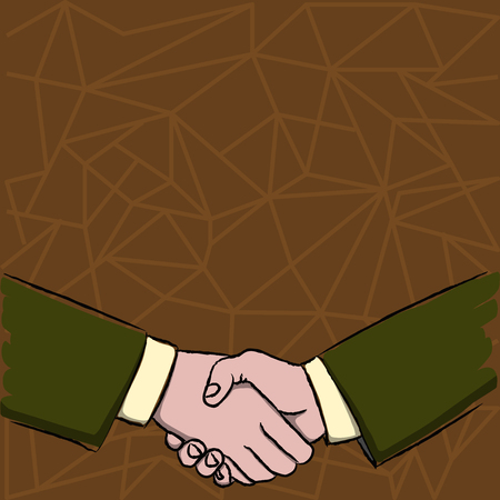 Businessmen Shaking Hands Firmly as Gesture Form of Greeting and Agreement Design business concept Empty copy space modern abstract background 일러스트