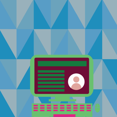 Desktop Computer Mounted on Stand with Online Profile Data on Monitor Screen Copy Space design Empty template text for Ad, promotion, poster, flyer, web banner, article