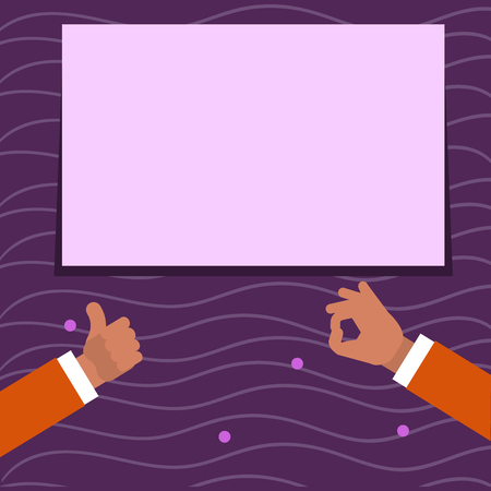 Two Businessmen Hands Gesturing the Thumbs Up and Okay Sign for Promotion Business concept Empty template copy space isolated Posters coupons promotional material
