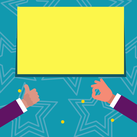 Two Businessmen Hands Gesturing the Thumbs Up and Okay Sign for Promotion Design business concept Empty copy space modern abstract background Stock Vector - 119321318