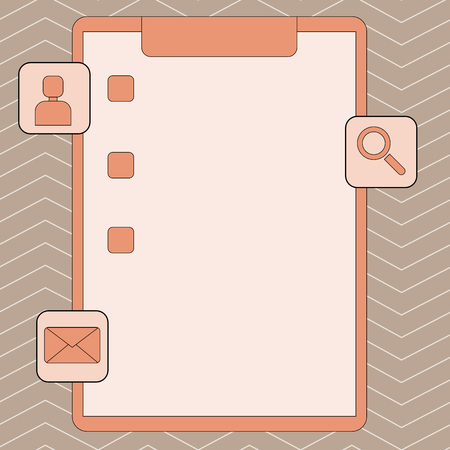 Clipboard with Tick Box and 3 Apps Icons for Assessment, Updates, Reminder Design business Empty template isolated Minimalist graphic layout template for advertising