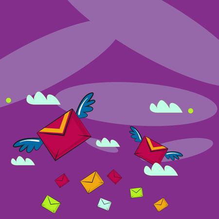 Molte buste da lettera volanti colorate per posta aerea e due di esse con ali Design business concept modello vuoto spazio copia testo per sito Web annuncio isolato