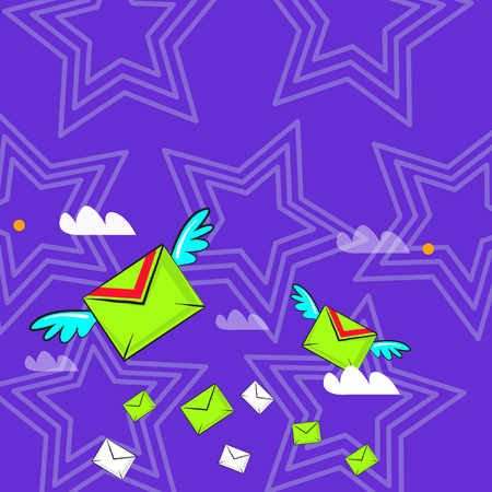 Many Colorful Airmail Flying Letter Envelopes and Two of Them with Wings Design business concept Empty copy space modern abstract background Stock Illustratie