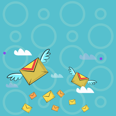 Many Colorful Airmail Flying Letter Envelopes and Two of Them with Wings Design business concept Empty copy text for Web banners promotional material mock up template. Stock Illustratie