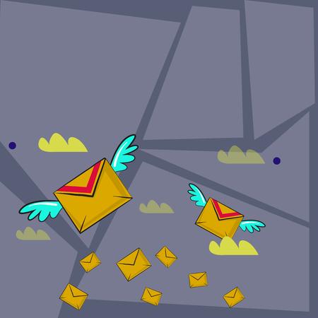 Beaucoup d'enveloppes colorées de lettre de vol de poste aérienne et deux d'entre elles avec la conception d'espace de copie d'ailes Texte de modèle vide pour l'annonce, la promotion, l'affiche, le dépliant, la bannière Web, l'article Vecteurs