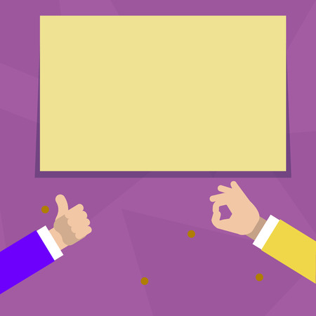 Two Businessmen Hands Gesturing the Thumbs Up and Okay Sign for Promotion Design business Empty copy space text for Ad website promotion isolated Banner template