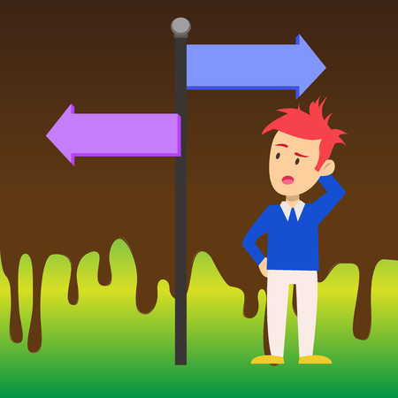Man Confused with the Road Sign Arrow Pointing to Opposite Side Direction. Design business concept Empty template copy space text for Ad website isolated Illustration
