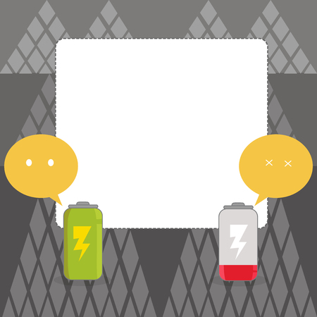Fully Charged and Discharged Battery with Two Colorful Emoji Speech Bubble Business concept Empty template copy space isolated Posters coupons promotional material
