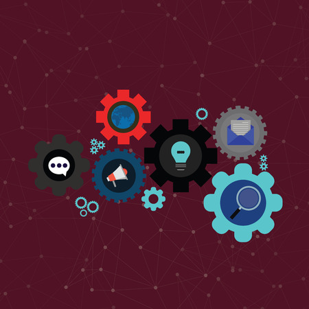 Set of Global Online Social Networking Icons Inside Colorful Cog Wheel Gear Design business Empty copy space text for Ad website promotion isolated Banner template