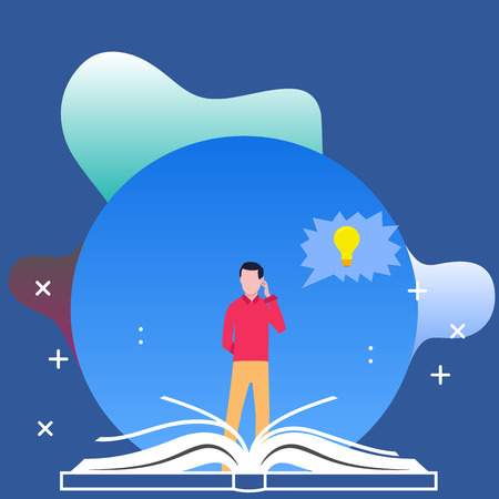 Man Standing Behind Open Book, Hand on Head, Jagged Speech Bubble with Bulb Design business concept Empty copy text for Web banners promotional material mock up template