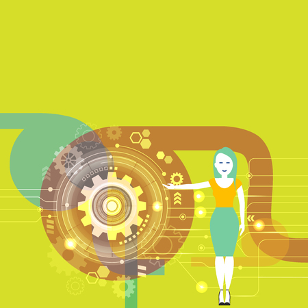 Woman Standing and Presenting the SEO Process with Cog Wheel Gear inside Design business Empty template isolated Minimalist graphic layout template for advertising