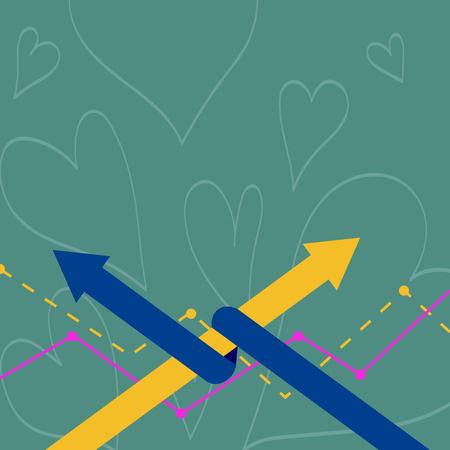 Zwei Pfeile, bei denen einer mit dem anderen als Team Up oder Competition Business verbunden ist Leere Vorlage für Layout für Einladungsgrußkarten-Werbeplakatgutschein.