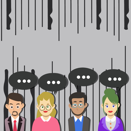 Group of Business People with Blank Color Chat Speech Bubble with Three Dots Design business concept Empty template copy space text for Ad website isolated