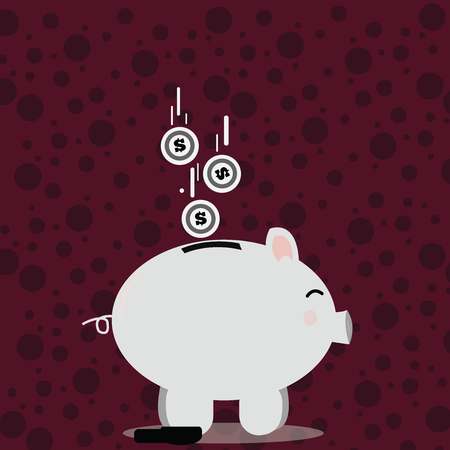 Color Piggy Bank Sideview and Dollar Currency Coins Falling Down to the Slit Design business concept. Business ad for website and promotion banners. empty social media ad