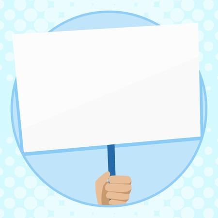 Main tenant une plaque blanche vierge prise en charge par la poignée pour le concept d'entreprise de conception de sensibilisation sociale Copie de texte vide pour le modèle de maquette de matériel promotionnel de bannières Web