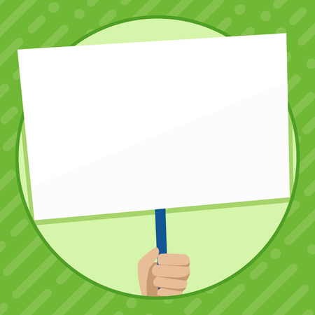 Hand Holding Blank White Placard Supported by Handle for Social Awareness Design business concept Empty copy text for Web banners promotional material mock up template Illustration