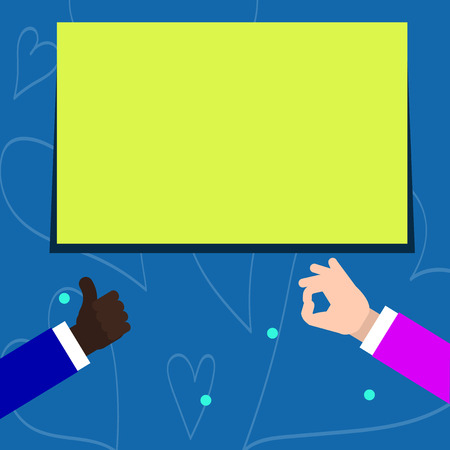 Two Businessmen Hands Gesturing the Thumbs Up and Okay Sign for Promotion Business Empty template for Layout for invitation greeting card promotion poster voucher Stock Vector - 119346159