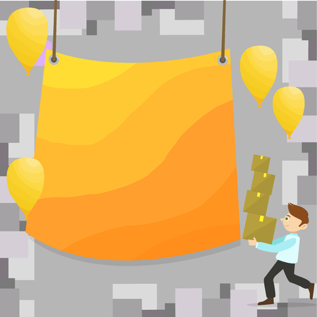 Man Carrying Pile of Boxes with Blank Tarpaulin in the Center and Balloons Design business concept. Business ad for website and promotion banners. empty social media ad Иллюстрация