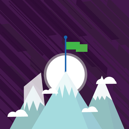 Three High Mountains with Snow and One has Blank Colorful Flag at the Peak Design business concept Empty template copy space text for Ad website isolated. Banco de Imagens - 119346468