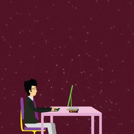 Businessman Sitting Straight on Chair Working on Computer and Books on Table Design business Empty template isolated Minimalist graphic layout template for advertising