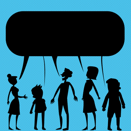 Silhouette Figure of People Talking and Sharing One Colorful Speech Bubble Design business concept Empty copy text for Web banners promotional material mock up template