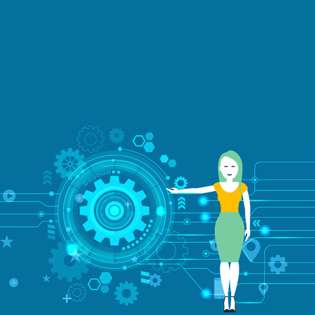 Woman Standing and Presenting the SEO Process with Cog Wheel Gear inside Business concept Empty template copy space isolated Posters coupons promotional material