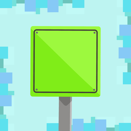 3D Square Blank Colorful Caution Road Sign with Black Border Mounted on Wood Design business concept. Business ad for website and promotion banners. empty social media ad