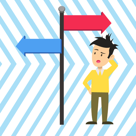 Man Confused with the Road Sign Arrow Pointing to Opposite Side Direction. Copy Space design Empty template text for Ad, promotion, poster, flyer, web banner, article Illustration