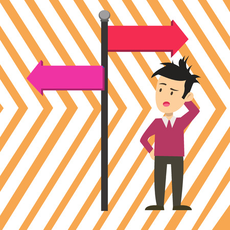 Man Confused with the Road Sign Arrow Pointing to Opposite Side Direction. Design business Empty copy space text for Ad website promotion isolated Banner template